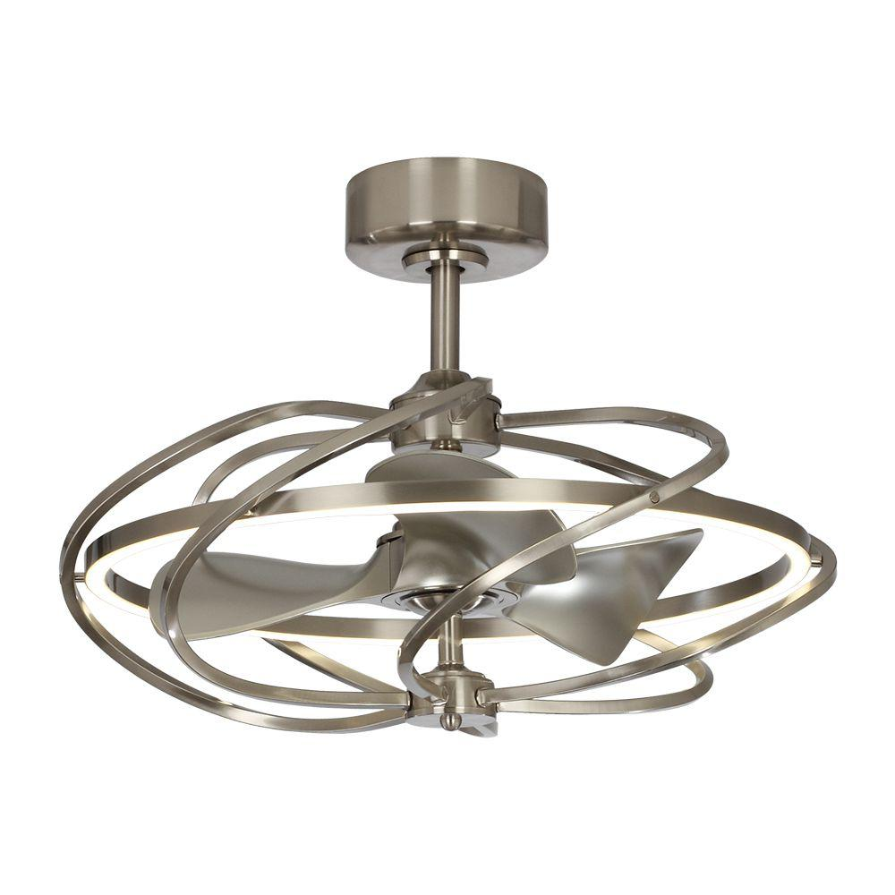 Parrot Uncle 27 In Bucholz Led Indoor Satin Nickel Downrod Mount Chandelier Ceiling Fan With Light And Remote Control F8203a110v The Home Depot
