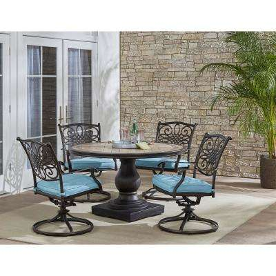 Hanover Patio Monaco Bronze 5-Piece Aluminum Round Outdoor Dining Set with Blue Cushions