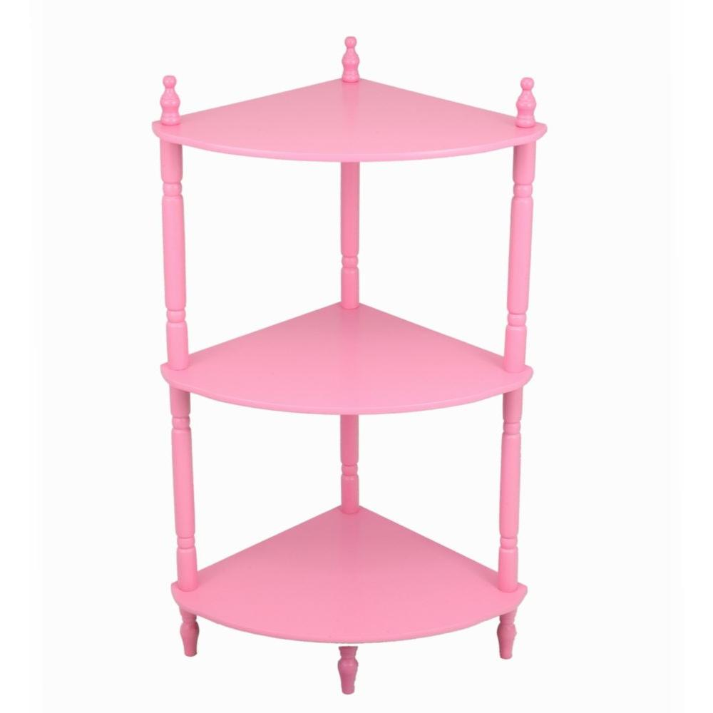 Kids Pink Bookshelf 3 Shelves Wood Corner Stand Childrens Girls Room 27