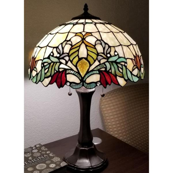 Amora Lighting Tiffany 24 In Multicolor Table Lamp With Stained Glass Floral Shade And Banker Base Am334tl16 The Home Depot