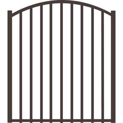 Beechmont 4 ft. x 4 ft. Pewter Heavy-Duty Aluminum Arched Pre-Assembled Fence Gate