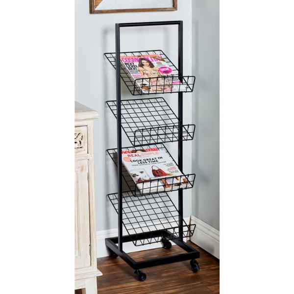 Litton Lane Black 4 Tier Freestanding Magazine Rack 58640 The Home Depot