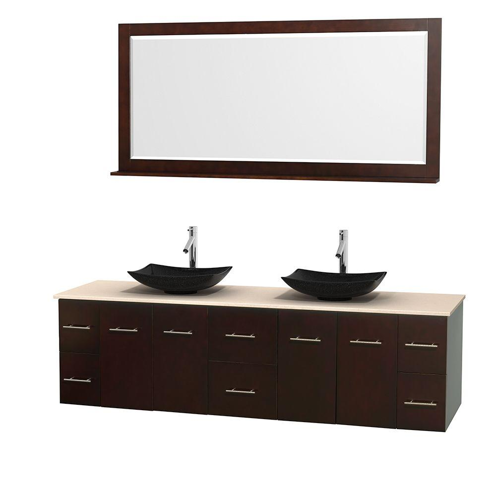 Wyndham Collection Centra 80 in. Double Vanity in Espresso with Marble Vanity Top in Ivory, Black Granite Sinks and 70 in. Mirror
