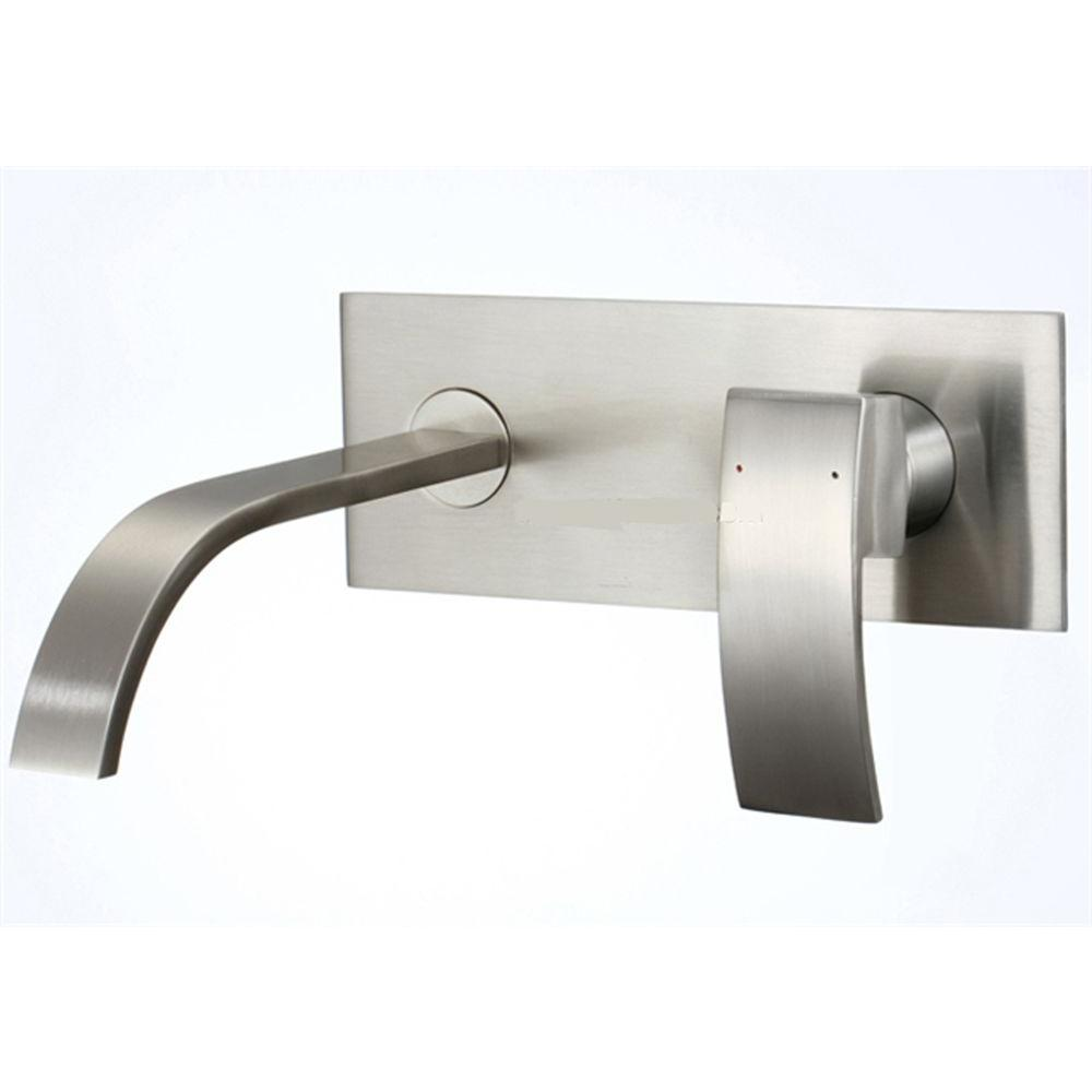 Kokols 1-Handle Wall Mount Bathroom Faucet in Brushed Nickel-86H08BN ...