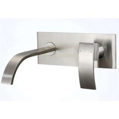 1-Handle Wall Mount Bathroom Faucet in Brushed Nickel