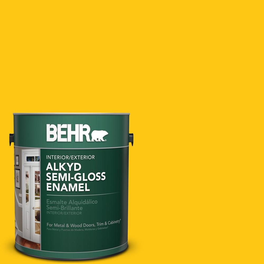 1 gal. #P300-7 Unmellow Yellow Semi-Gloss Enamel Alkyd Interior/Exterior Paint