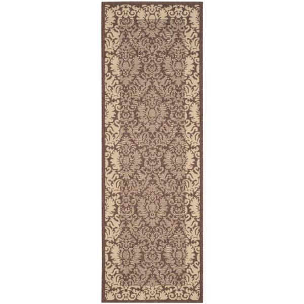 Safavieh Courtyard Chocolate Natural 2 Ft X 7 Ft Indoor Outdoor Runner Rug Cy2727 3409 27 The Home Depot