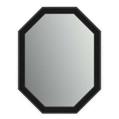 26 in. x 34 in. (M2) Octagonal Framed Mirror with Standard Glass and Easy-Cleat Float Mount Hardware in Matte Black
