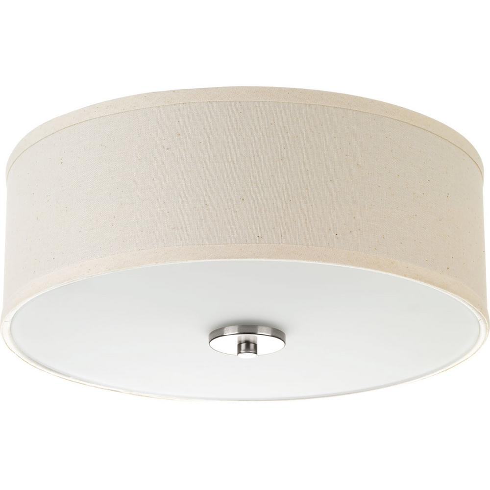 367e60d25e5 Progress Lighting Inspire Collection 13 in. 2-Light Brushed Nickel Flush  Mount with Off