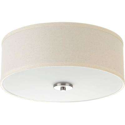 Inspire Collection 13 in. 2-Light Brushed Nickel Flush Mount with Off-White Linen Shade