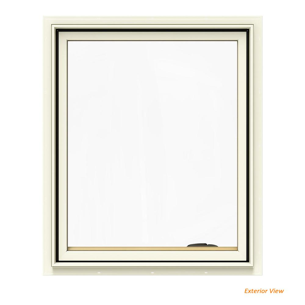 JELD-WEN 30.75 in. x 36.75 in. W-2500 Series Cream Painted Clad Wood Right-Handed Casement Window with BetterVue Mesh Screen