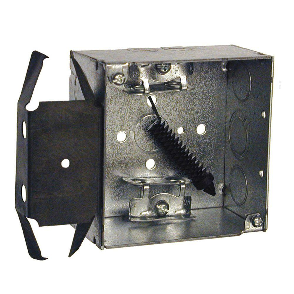 4 in. Welded Square Electrical Box, AC/MC/Flex Clamps and Bracket