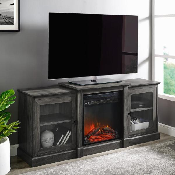 60 in. Slate Gray Composite TV Stand Fits TVs Up to 66 in. with Electric Fireplace