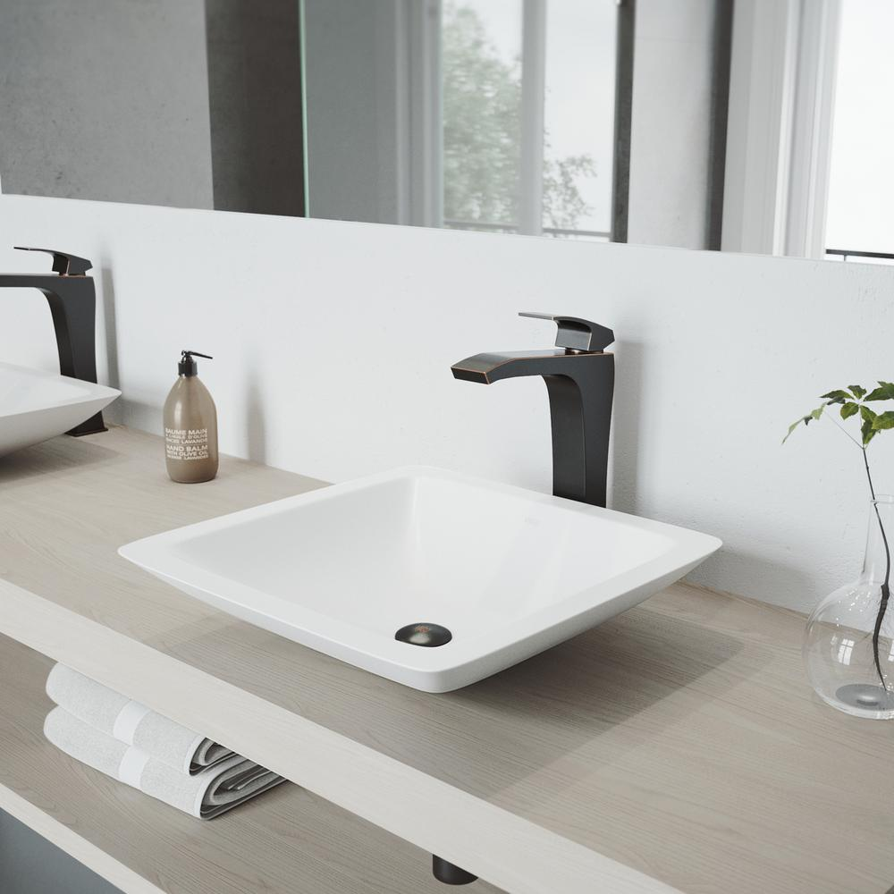 VIGO Begonia Matte Stone Vessel Sink In White With Blackstonian Vessel  Faucet In Antique Rubbed Bronze
