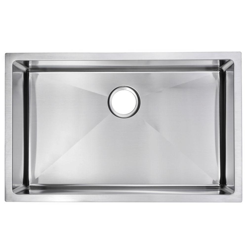 Undermount Small Radius Stainless Steel 30x19x10 0-Hole Single Bowl Kitchen Sink in Satin Finish