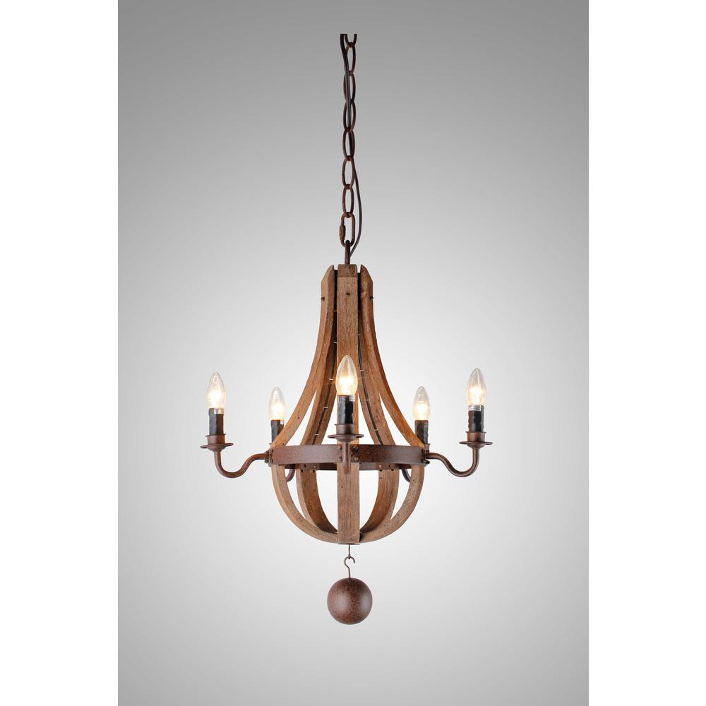 Y Decor Candle-Style 5-Light Iron Frame and Rustic and ...