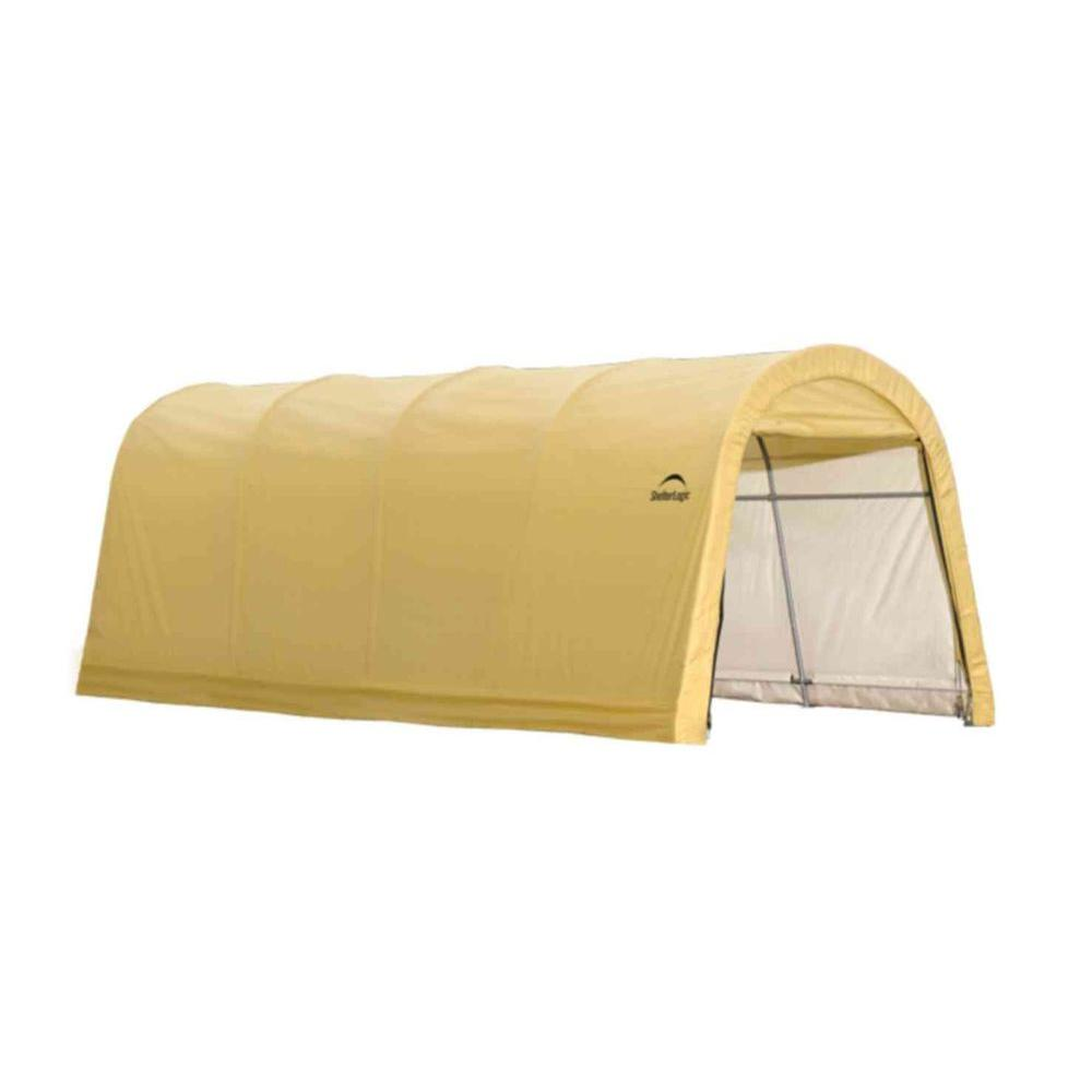 ShelterLogic 10 ft. W x 20 ft. D x 8 ft. H Steel and Polyethylene Garage without Floor in Sandstone with Corrosion-Resistant Frame