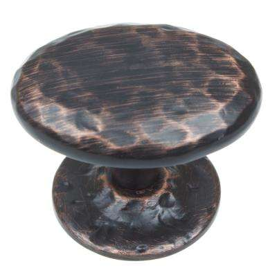 1-5/8 in. Dia Oval Hammered Cabinet Knob with Base (10-Pack)