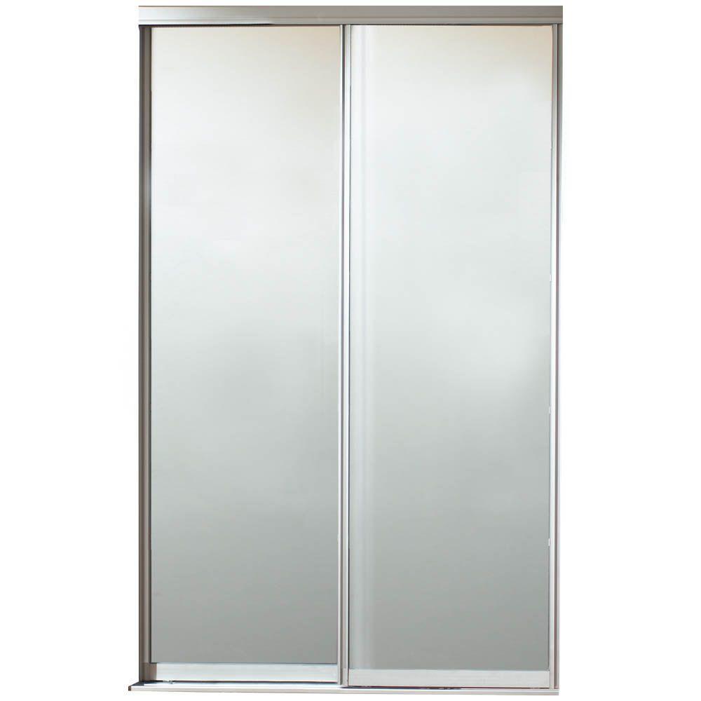 fb63730d806 Contractors Wardrobe. 72 in. x 81 in. Silhouette 1 Lite Satin Clear  Aluminum Frame Mystique Glass Interior Sliding Door