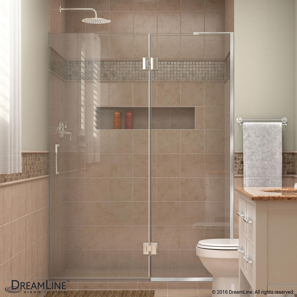 Unidoor-X 47 in. x 72 in. Frameless Hinged Shower Door in & DreamLine Unidoor Lux 30 in. x 72 in. Frameless Corner Hinged ...