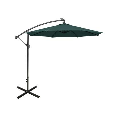 10 ft. Cantilever Hanging Patio Umbrella with Solar LED and 4-Piece Base Weights, Dark Green
