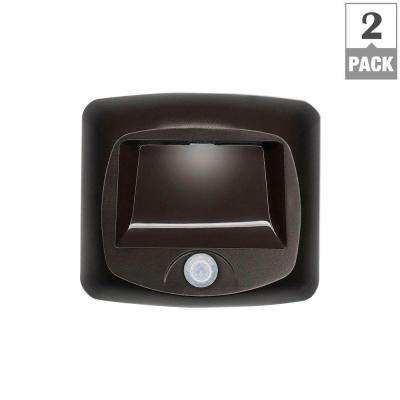 Outdoor Wireless Motion Sensing LED Step/Stair Light, Brown (2-Pack)