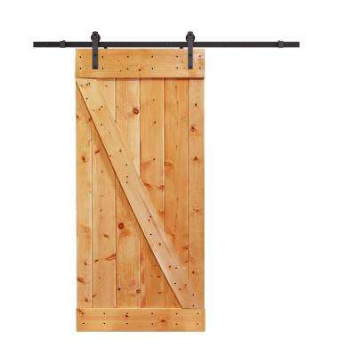 36 in. x 84 in. Z-Bar Light Brown Wood Sliding Barn Door with Sliding Door Hardware Kit