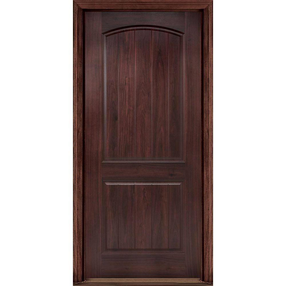 Masonite 36 in. x 80 in. AvantGuard Sierra 2-Panel Right-Hand Inswing Finished Smooth Fiberglass Prehung Front Door No Brickmold