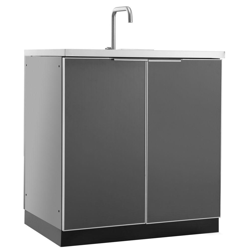 Aluminum Slate 32 in. Sink 32x35x24 in. Outdoor Kitchen Cabinet