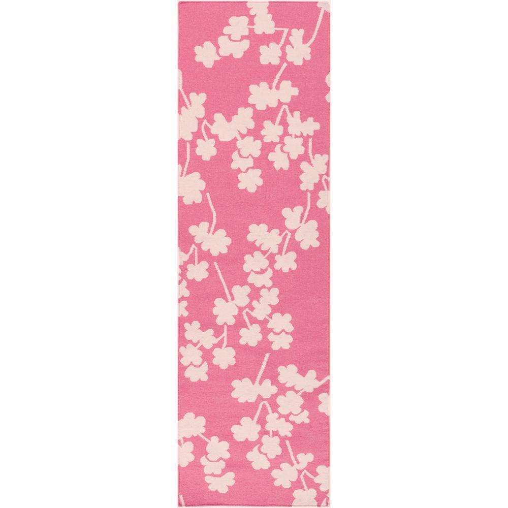 Jill Rosenwald Flamingo Pink 3 ft. x 8 ft. Flatweave Runner Rug