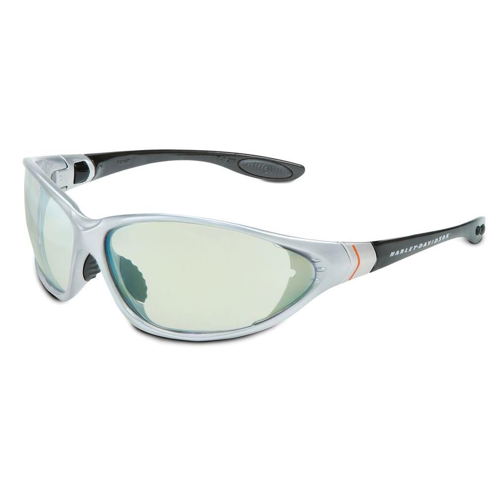 Harley-Davidson HD1300 Series Safety Glasses with Indoor/Outdoor Mirror Tint Anti-Fog Lens and Black/Silver Frame
