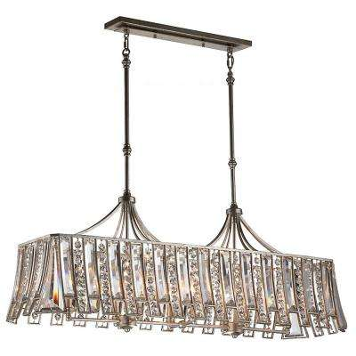 W 8 Light Ebonized Silver Leaf Island Chandelier With Crystal Shade