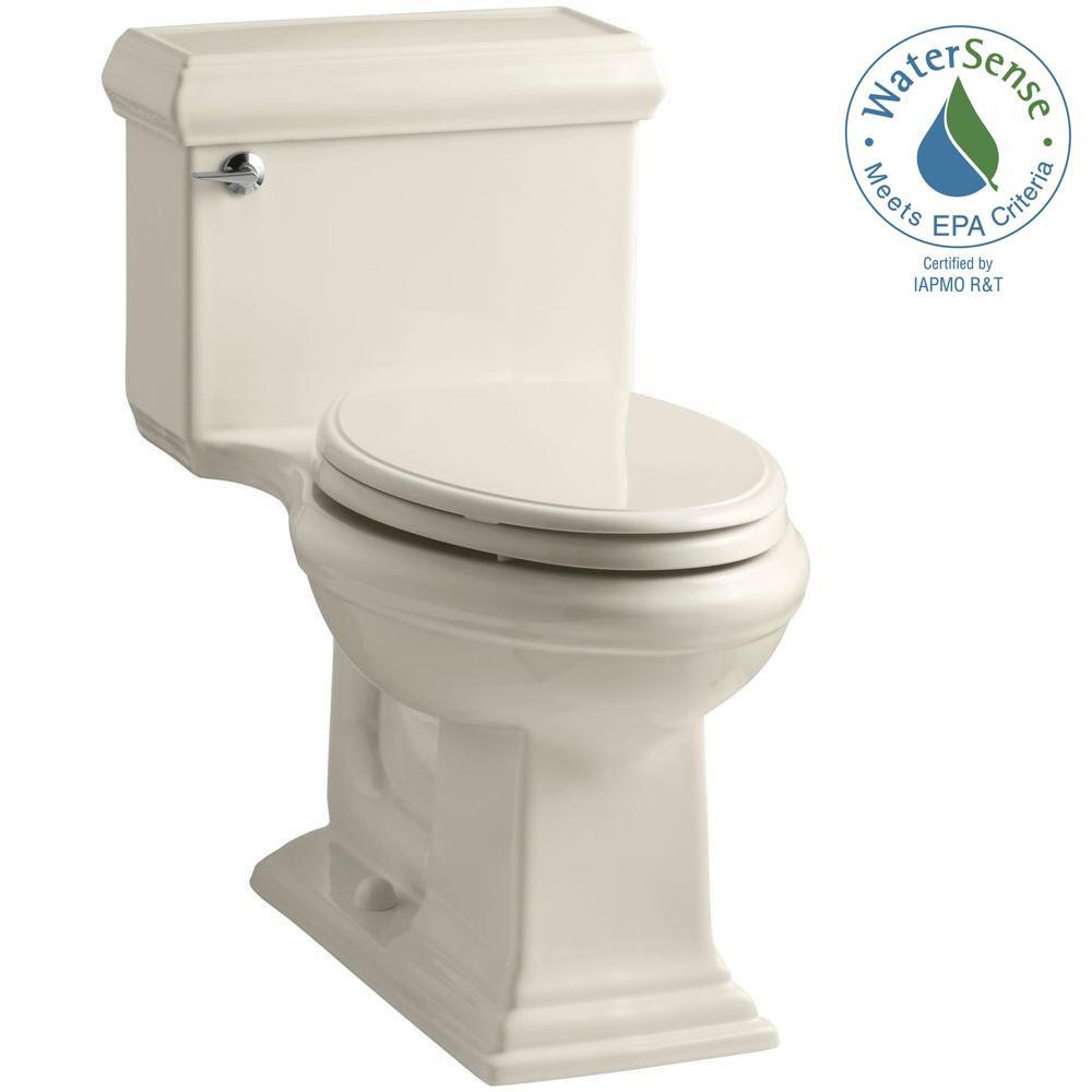 Memoris Classic 1-Piece 1.28 GPF Single Flush Elongated Toilet with AquaPiston Flush Technology in Almond