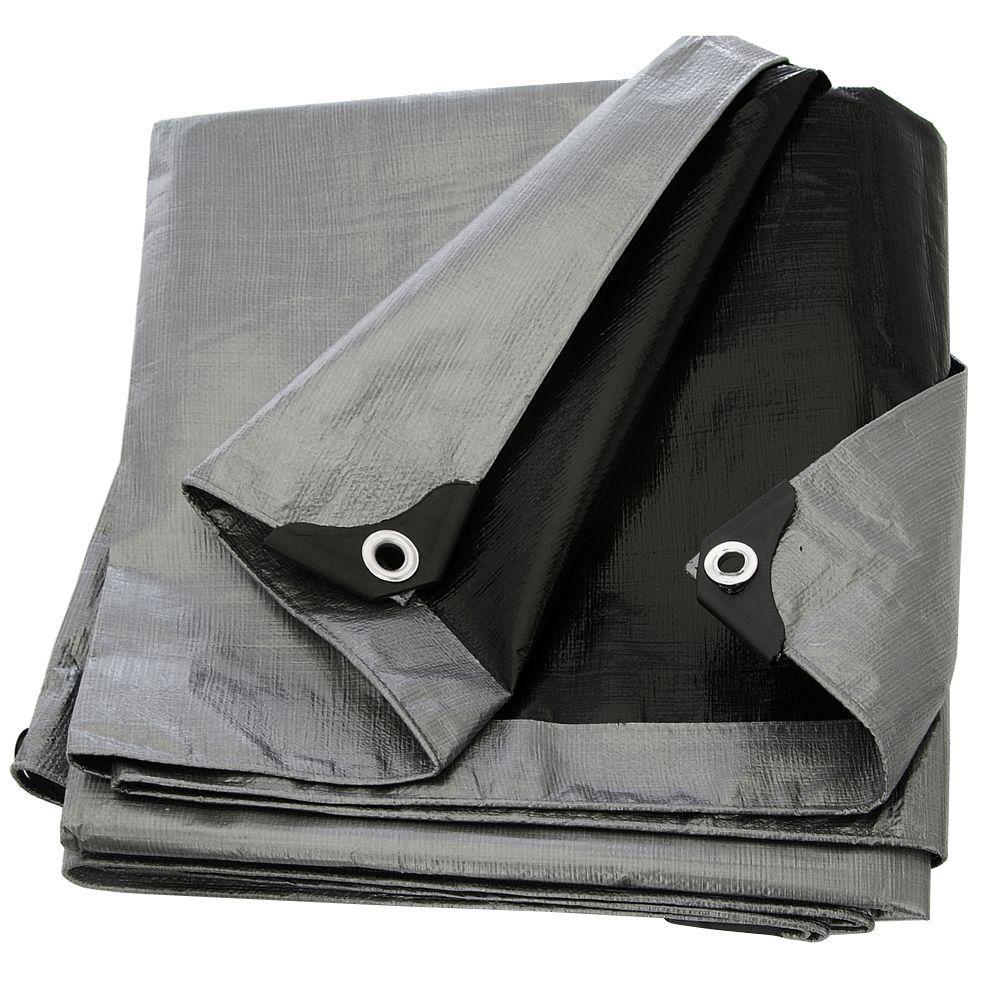 silver black heavy duty tarp