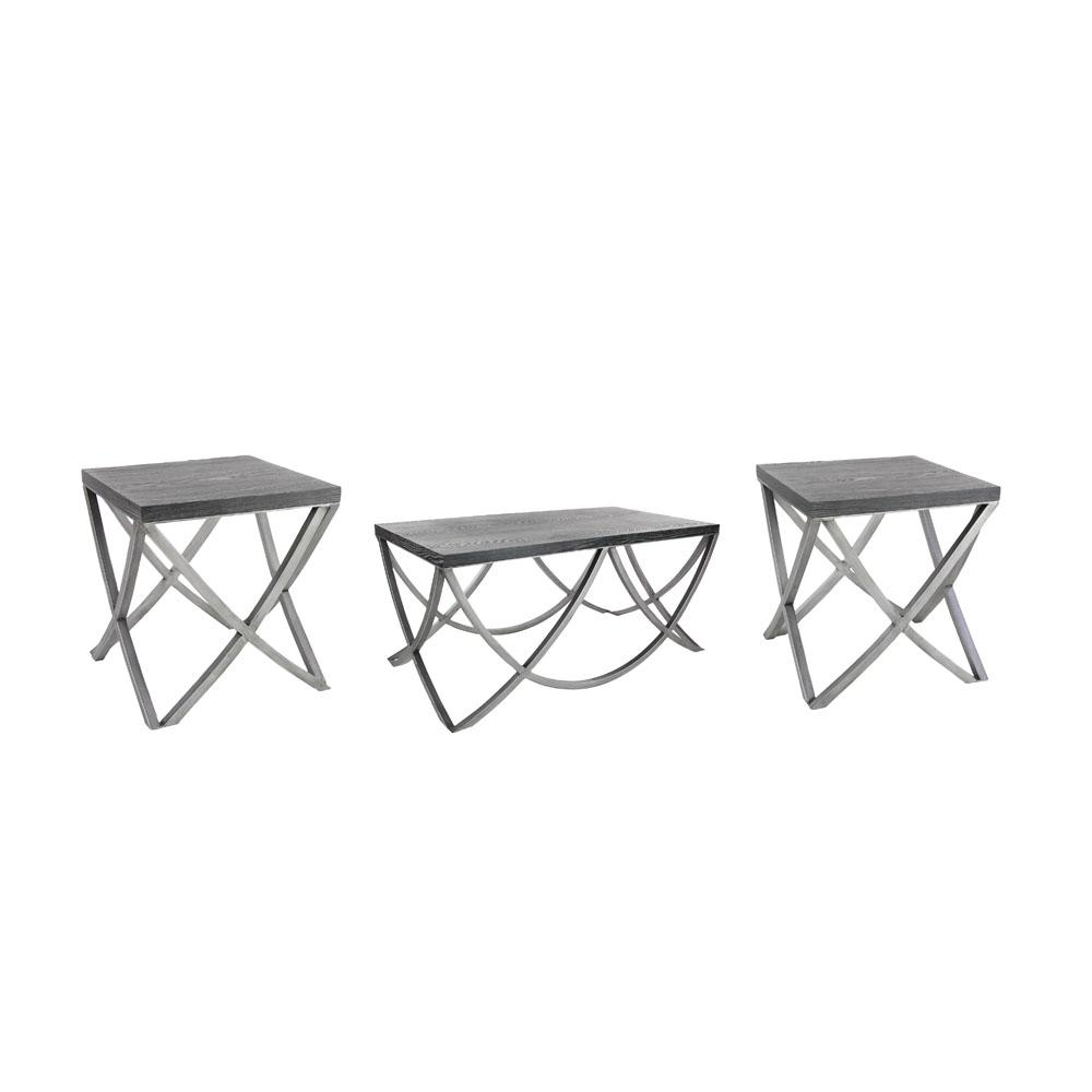 Matte Black End Tables With Silver Crisscrossed Legs Set Of 3