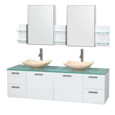 Amare 72 in. Double Vanity in Glossy White with Glass Vanity Top in Green, Marble Sinks and Medicine Cabinet