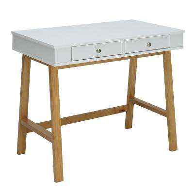 Pearce White and Natural Maple Small Office Desk