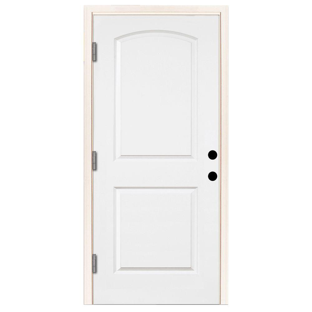 Steves sons 36 in x 80 in premium 2 panel arch primed white steel prehung front door with 36 36 x 80 outswing exterior door