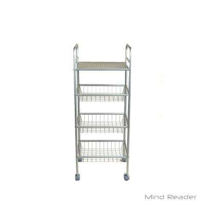 4-Tier Metal 4-Wheeled Utility Cart in Silver