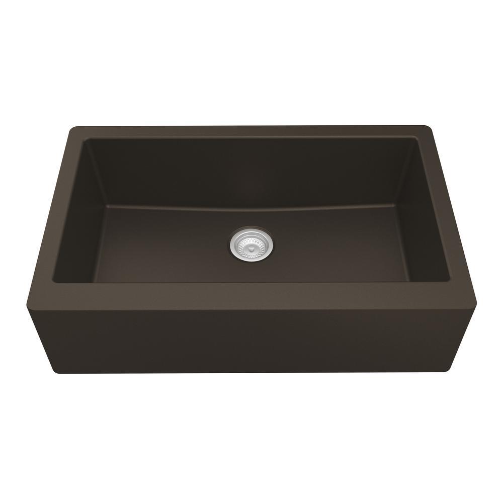 Farmhouse/Apron-Front Quartz Composite 34 in. Single Bowl Kitchen Sink in Brown