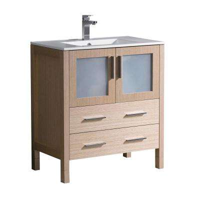 Torino 30 in. Bath Vanity in Light Oak with Ceramic Vanity Top in White with White Basin