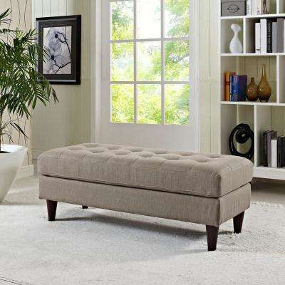 Empress Upholstered Fabric Bench in Granite
