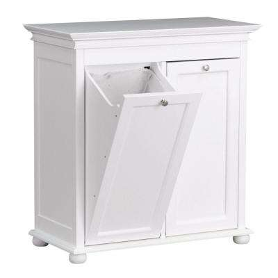 Hampton Harbor 35 in. Double Tilt-Out Hamper in White
