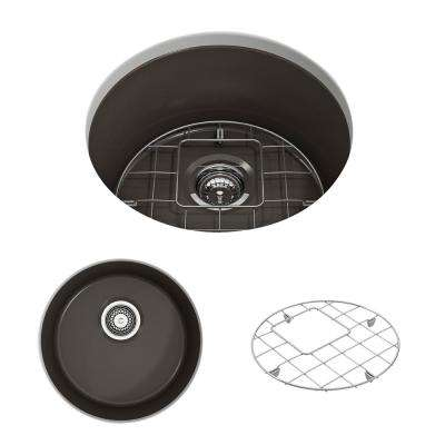 Sotto Undermount Fireclay 18.5 in. Single Bowl Round Kitchen Sink with Bottom Grid and Strainer in Matte Brown