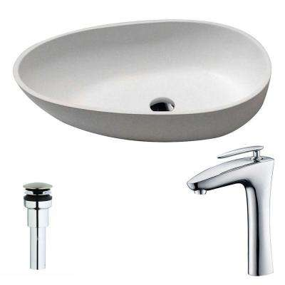 Trident 1-Piece Man Made Stone Vessel Sink in Matte White with Crown Faucet in Chrome