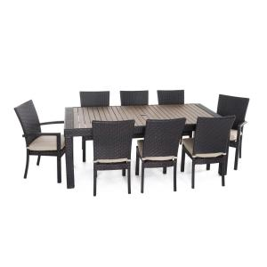 deco 9piece patio dining set with slate grey cushions rst brands - Rst Brands