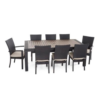 Deco 9-Piece Patio Dining Set with Slate Grey Cushions