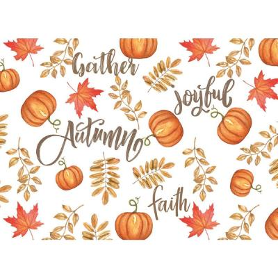 MHF Home Brown and Orange Joyful Autumn 18 in. W x 13 in. L Polypropylene Placemat Set (4-Pack)