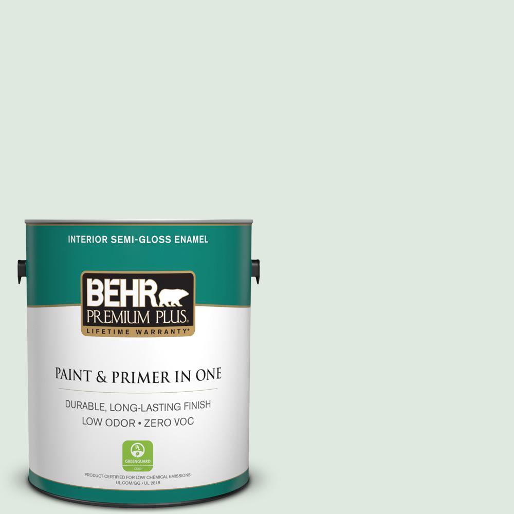 BEHR Premium Plus 1-gal. #470E-2 Water Mark Zero VOC Semi-Gloss Enamel Interior Paint