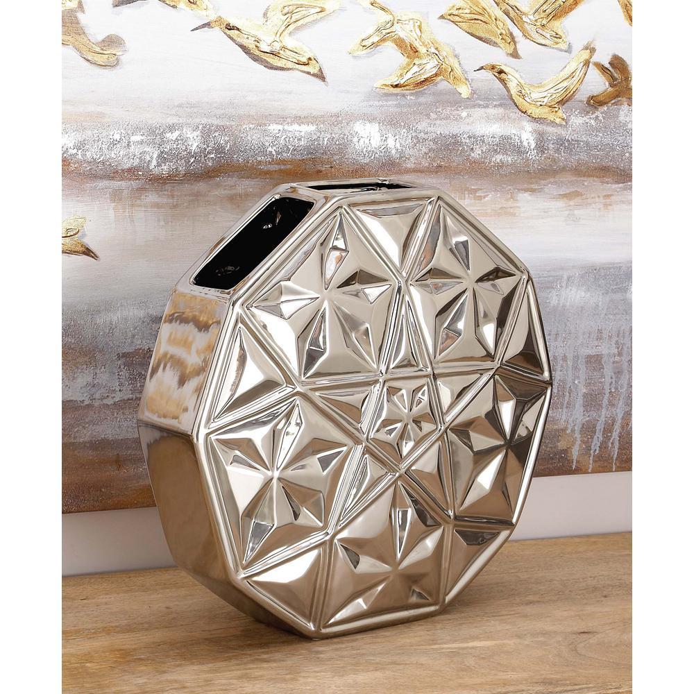 14 in. Modern Decagon Black Ceramic Decorative Vase